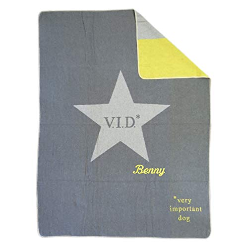Fussenegger Hundedecke mit Wunsch-Name bestickt 100 cm x 140 cm very important dog grau gelb Haustierdecke mit Name personalisiert VID