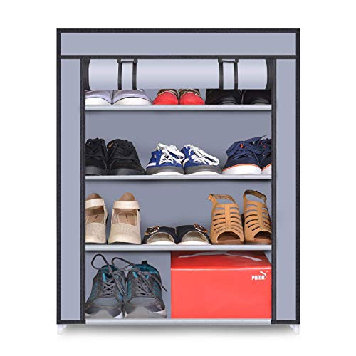 Sasimo Multipurpose Shoe Rack Shoe Storage Organizer Cabinet Tower with Non-Woven Fabric Waterproof Cover (Shoes Rack for Home) (4-Layer-Grey)