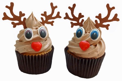 Dekorationset für 6 weihnachtliche Rudolf Cupcakes / Set to decorate 6 Christmas Rudolf Cupcakes, including 6 chocolate noses, 6 pairs of eyes and 6 pairs of antlers