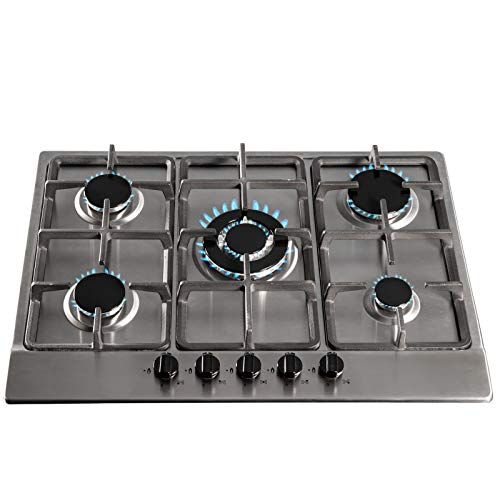 SIA 70cm Stainless Steel 5 Burner Gas Hob With Cast Iron Pan Stands & Wok Burner