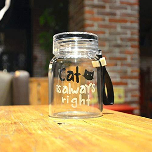 Panamami glas waterflessen 10 oz creatieve schattige kat draagbare waterbeker voor drinken, sap fles, melk container glazen fles - transparant