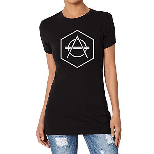 TANGLIII Damen/Women's Vintage Don Diablo Logo 2 Black Short Sleeve T-Shirt Top Tee