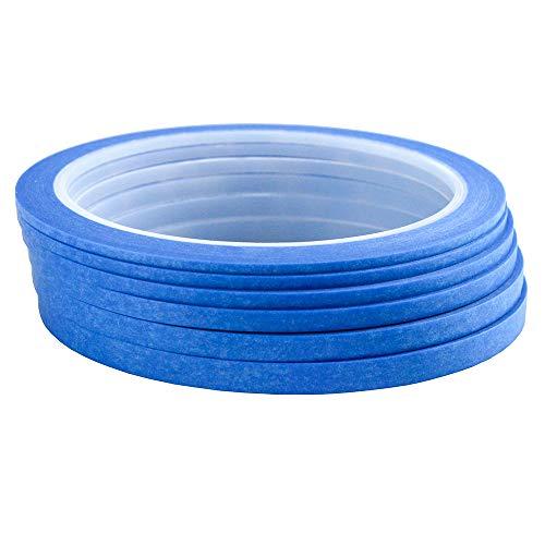 Blue 6Rolls Paper Masking Tape Nail Arts Drawing Pattern Making DIY Single Side Tape 2mm 2.5mm 3mm 4mm 5mm 6mm x 25m