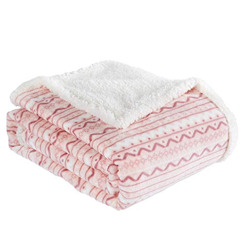 """BEAUTEX Sherpa Fleece Throw Blanket for Young Girls Super Soft Fuzzy Cozy Plush Pink Sherpa Plush Throw Blanket for Kids Children Teens or Adult for Sofa Couch Bed (50"""" x 60"""",Light Pink Stripe)"""