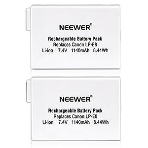 Neewer® - Batería de Repuesto Recargable para Canon EOS 550D 600D 650D 700D Digital Rebel T2i T3i T4i T5i (2 Unidades, ión de Litio 7,4 V, 1140 mAh)
