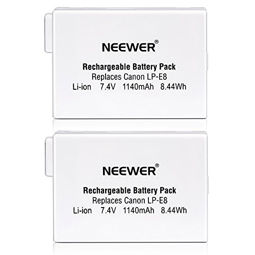 Neewer® Batería Recargable de Repuesto LP-E8 de Ion de Litio de 7,4 V 1140 mAh para empuñadura de batería BG-E8, Canon EOS 550D, 600D, 650D, 700D, Digital Rebel T2i T3i T4i T5i (2 Unidades)