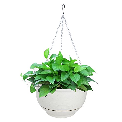 Vencer Hanging Planter Imitation Ceramic Plastic Flowerpot 11.8 Inch Water Permeable Type,VF-040