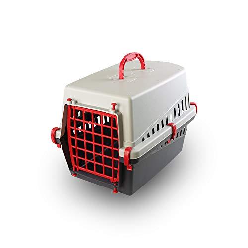 PATAM Trasportino per Animali Portata Max 8 kg – Trasportino Cane e Gatto in Plastica 33 x 50 x 32 cm Miao Rosso