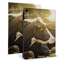 牛の放牧フィールド iPad 2018 ケース アイパッド 2017 9.7 ipad air2 手帳型保護カバー 耐衝撃 傷つけ防止 全面保護 二つ折 オートスリープ 高級PU レザーケース