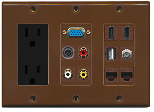 RiteAV 2 Hdmi 2 Cat6 3.5mm RCA Composite Coax USB-A SVGA Power Outlet Wall Plate - Brown