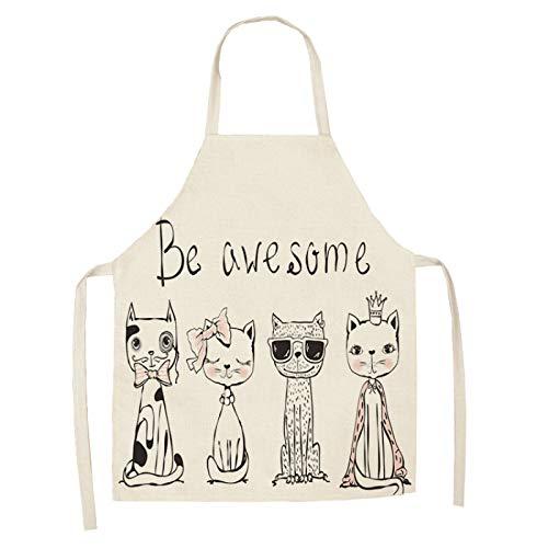 MissW Delantal De La Serie De Gatos De Dibujos Animados Babero De Cocina Antiincrustante Y A Prueba De Aceite Adecuado para Cocinar Hornear Catering