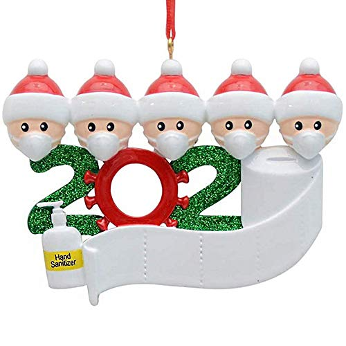 ACTLATI Customised Christmas Decor Survived Family 2020 Ornament - Indoor Decorations with Masks & Hand Sanitizer 2020 Personalised Gifts for Christmas Holiday