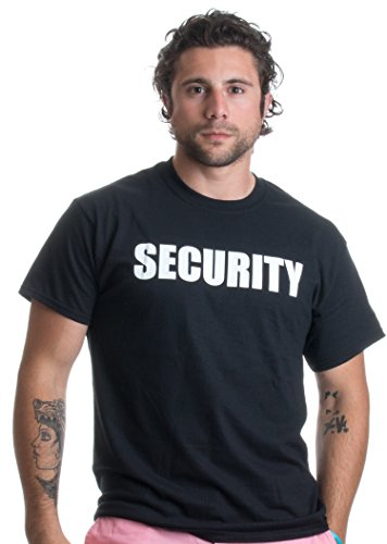 Security | Event Safety Guard Two Side Print Black w/Tall Sizes Unisex T-Shirt-(Adult,2XLT)