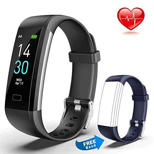 Showyoo Pulsera Actividad Ritmo Cardíaco Monitores de Actividad Pulsómetro Podómetro Impermeable IP68 Pulsera Presion Arterial Smartwatch, Reloj Inteligente Deportivo Mujer Hombre niños, Negro Azul