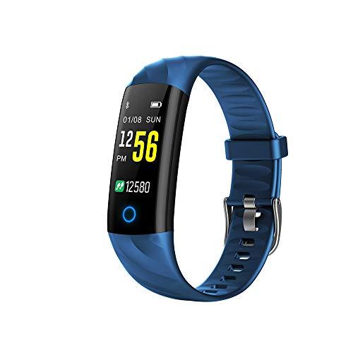 Gesundheits-Tracker, TFT-Farbbildschirm Herzfrequenz Blutdrucküberwachung Gesundheit Bluetooth-Armband Nachtlaufsport Atmen Licht Intelligentes Armband,Blue