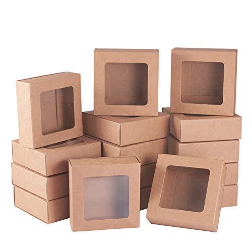 BENECREAT 20 Packungen Quadratische Kraftpapier Schubladenboxen mit Fenster 7,5 x 7,5 x 3 cm Papier Geschenkboxen für die Aufbewahrung von Bäckerei Party Leckereien
