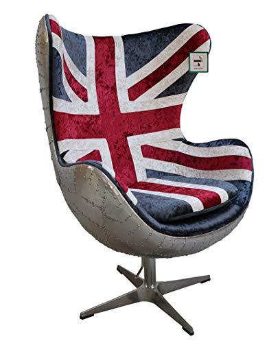 DesignerSofas4u.co.uk Aviator Union Jack Velvet Retro Sedia a uovo girevole con gambe in metallo