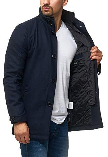 Indicode Herren Brittany Kurzmantel mit Stehkragen   Warmer Wollmantel kurzer Herrenmantel Leichter Wintermantel Winterjacke Herrenjacke Jacke Mantel für Männer Navy L