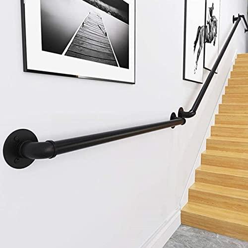 Kit de pasamanos de hierro forjado para escaleras, pasamanos de tubo industrial para escaleras con soporte de montaje en pared,Black-6ft/180cm