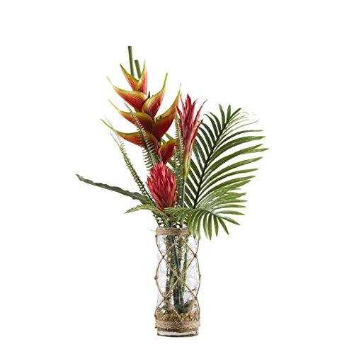 D & W Silks 174028 Heliconia, Ginger, Protea, and Palm Fronds in Vase, Red/Yellow/Green/Clear/Brown