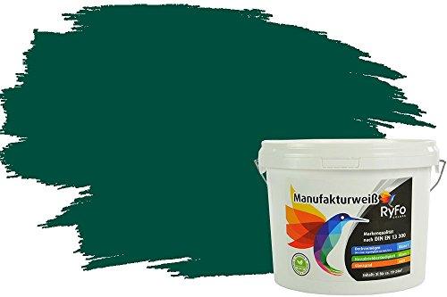 RyFo Colors Bunte Wandfarbe Manufakturweiß Waldgrün 3l - weitere Grün Farbtöne und Größen erhältlich, Deckkraft Klasse 1, Nassabrieb Klasse 1