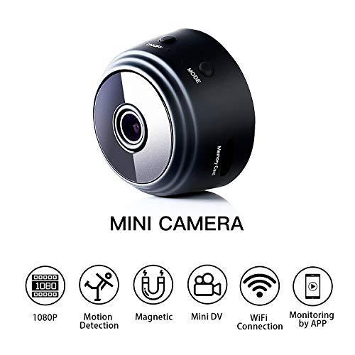 Fekkii Mini microcámaras espia 1080P HD WiFi IP Inalámbrico Movimiento Botón Oculto Cámara Detección Cámara de Video vigilancia portátil Grabación de Video en Bucle para iOS y Android
