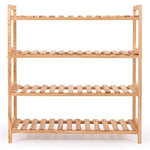 XYZMDJ Schoenenkast met 4 niveaus, gemaakt van stevig hout, meerdere niveaus, eenvoudig frame van hout, meerdere functies van de schoen