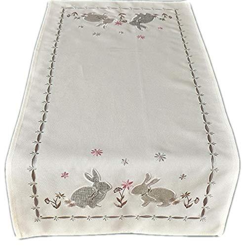 Raebel Pasen tafelkleed Pasen deken paasdecoratie wit borduurwerk haas grijs zilver 100% polyester