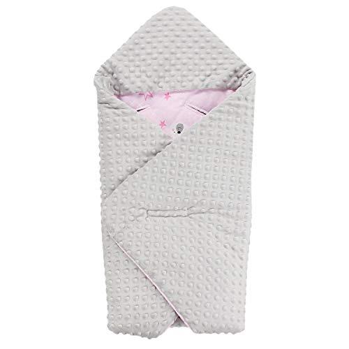 TupTam Baby Winter Einschlagdecke für Babyschale Wattiert, Farbe: Bärchen Rosa/Grau, Größe: ca. 75 x 75 cm