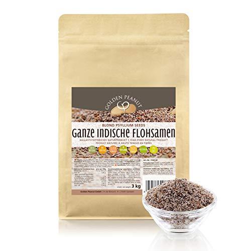 Flohsamen ganz 99 % Reinheit 3 kg Beutel Premium Qualität aus Indien von Golden Peanut