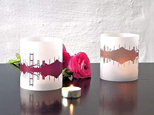 Istanbul Skyline Windlicht 2er Set Lichthülle - Tischlicht Geschenk-Idee Deko personalisierbar mit eigenem Namen Text Datum Spruch Botschaft