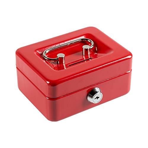 八番屋 ミニ金庫 手提げ金庫 貯金箱 CASH MATE キャッシュメイト 鍵付き 家庭用 おしゃれ かわいい (レッド)
