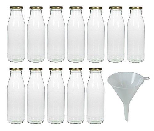 Viva Haushaltswaren - 12 x Weithals-Glasflasche 500 ml mit goldfarbenem Schraubverschluss, als Milchflasche, Saftflasche & Smoothieflasche verwendbar (inkl. Trichter Ø 12 cm)