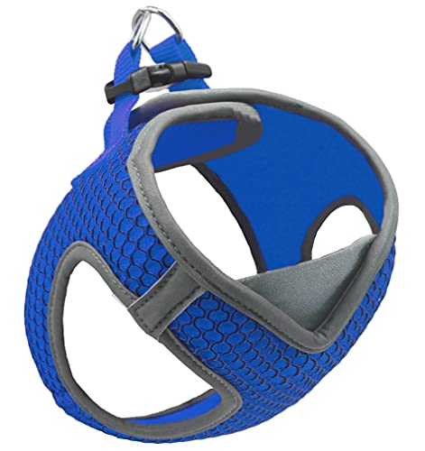 KRUZ PET KZA308-02L Reflective V-Neck Step in Mesh Dog Harness - No Pull, Quick Fit, Comfortable, Velcro-Adjustable Pet Harnesses for Walking & Training - Small, Medium Dogs - Blue, Large