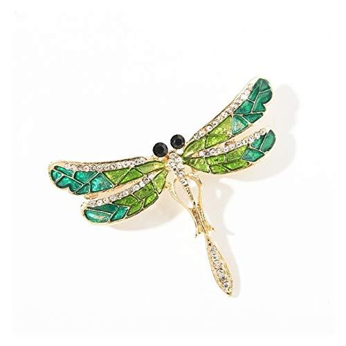 Juan-375 Clásico Mujer Elegante Broche Retro Accesorios de Ropa de Moda de joyería de Cristal de la Moda Broche para Mujeres, niñas, Damas, (Metal Color : Dragonfly)
