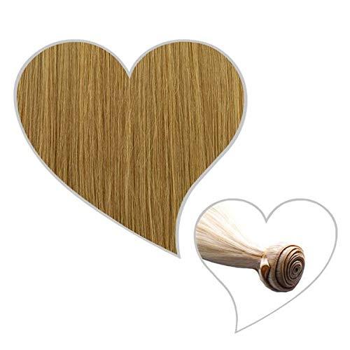 GLOBAL EXTEND® Haartresse 45-47 cm chai-blond#15 Echthaar 1 m Tresse zum Einnähen Flechten Microring Remy Hair Weave Sew in Extensions Echthaartresse Haarverlängerung
