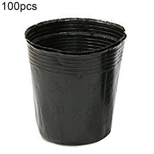Lai-LYQ 100st zakken, kunststof planten waxen zakken bloempot kinderdagverblijf planter container huistuin decor 9x9cm zwart