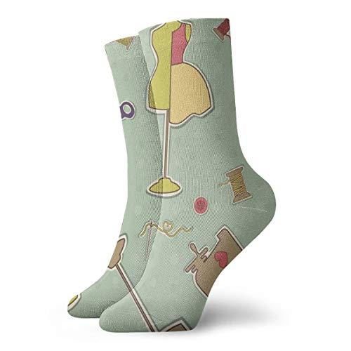 BJAMAJ Unisex Sokken Dressmaking Schaar Afbeelding Interessant Polyester Crew Sokken Volwassene Sokken Katoen