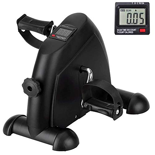 Mini Exercise Bike Pedal Exerciser Arm and Leg Cycle Exercise Bike Adjustable Resistance with LCD Display Black