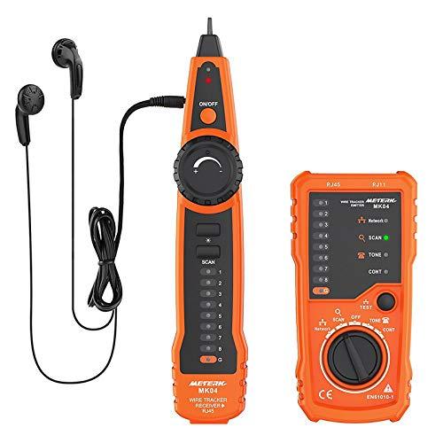 Kabeltester, Meterk Line Finder RJ11 RJ45, Handheld Leitungsfinder, Multifunktionskabel Check Wire Messgerät für Netzwerk Wartung Collation, Telefonleitungstest, Kontinuitätsprüfung