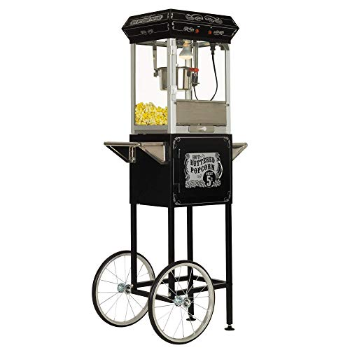 Learn More About Funtime Sideshow Popper 4-Ounce Hot Oil Popcorn Machine with Cart, Black/Silver
