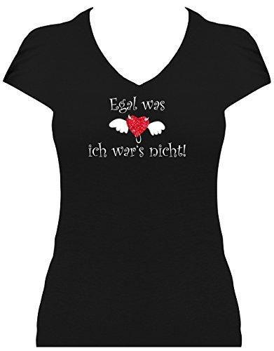 Elegantes Shirt Damen Glitzeraufdruck Egal was ich war es Nicht Evilheart Teufel, T-Shirt, Grösse M