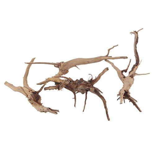 Ramas de madera arrastrada por las corrientes natural. Para reptiles y decoración de peceras. Varios tamaños (pequeño). 4 piezas. De Emours