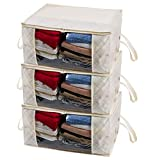 Woffit Extra Large Foldable Storage Bag Organizers, Clear Window & Strong Carry Handles, Great for Clothes, Blankets, Towels, Winter & Summer Clothing, Closets, Bedrooms, Under Bed