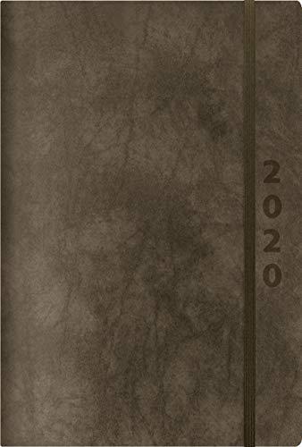 ReLeather Daily anthrazit 2020: Terminplaner groß. DIN A5 Termin-kalender mit Vintage-leder und Tageskalendarium.