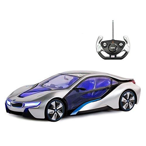 BMW Toy Car, Rastar 1:14 BMW i8 Remote Control Car | BMW RC Car, Fully Transparent/Interior Light – Silver, 27MHz / 40MHz