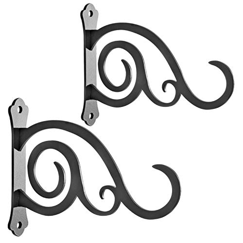 HongKim 6-Inch Outdoor Indoor Decorative Iron Lantern Wall Hooks Hangers for Hanging Wind Chimes Hummingbird Feeders Candle Holders(Black, Set of 2)