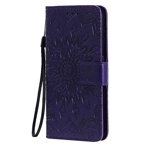 KKEIKO Hülle für Galaxy J4 Core, PU Leder Brieftasche Schutzhülle Klapphülle, Sun Blumen Design Stoßfest HandyHülle für Samsung Galaxy J4 Core - Violett