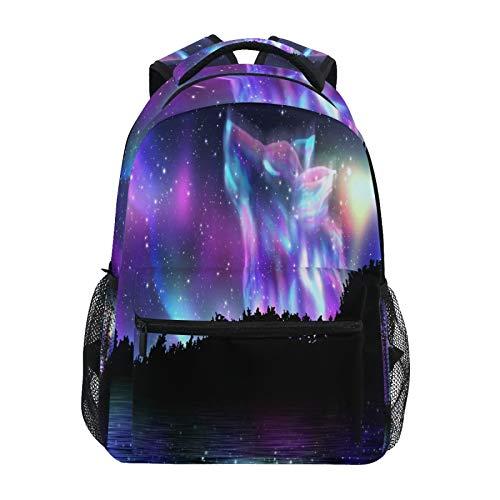 OOWOW Mochila escolar Fantasía Galaxy Wolf Daypack ligera impermeable mochila para computadora portátil de escuela primaria bolsa de hombro grande para mujeres, hombres, niños y adolescentes