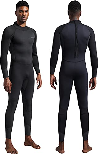 Dark Lightning Mens 3mm Full Suit Wetsuit for Scuba Diving, Snorkeling Surfing Thick and Warm Jumpsuit for Multi Watersports